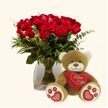 Valencia flowers  -  Pack 18 red roses + Teddy bear heart Delivery