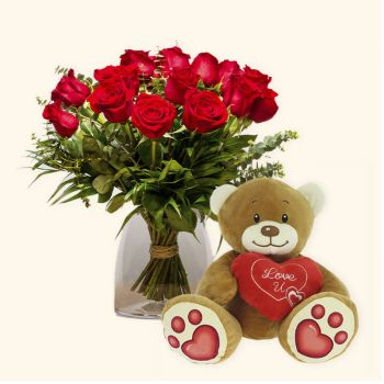 Valencia flowers  -  Pack 15 red roses + Teddy bear heart Delivery