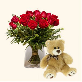 Spain flowers  -  Pack 15 red roses + Teddy bear Delivery