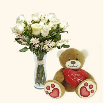 Barcelona flowers  -  Pack 12 white roses + Teddy bear heart Delivery