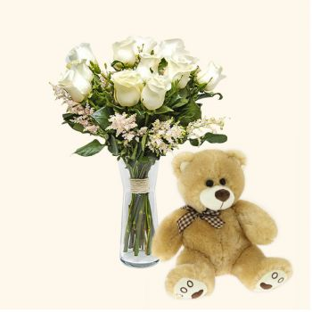 Aldaia flowers  -  Pack 12 white roses + Teddy bear  Delivery