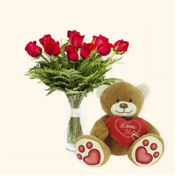 Valencia flowers  -  Pack 12 red roses + Teddy bear heart Delivery