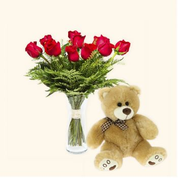 Benetuser flowers  -  Pack 12 red roses + Teddy bear Delivery