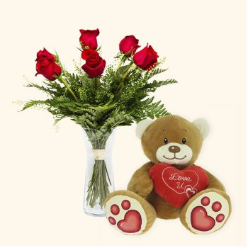 Valladolid flowers  -  Pack 6 red roses + Teddy bear heart Delivery