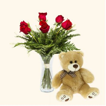 Valencia flowers  -  Pack 6 red roses + Teddy bear Delivery