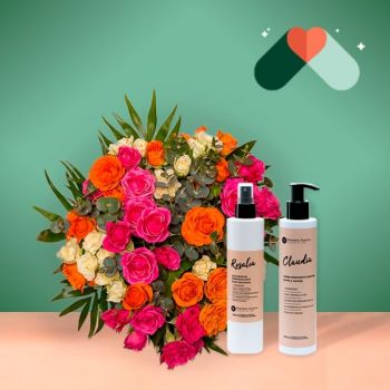 Arrigorriaga Fiorista online - Bouquet di New York e kit cosmetico Mazzo