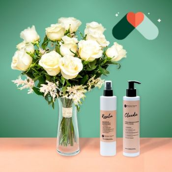 Portlligat flowers  -  12 White Roses and Cosmetic Kit Flower Delivery