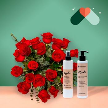 Spain flowers  -  24 Red Roses and cosmetics  Flower Delivery
