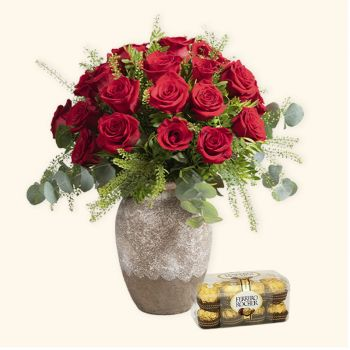 Spain flowers  -  Pack 24 Red Roses + Ferrero Rocher Flower Delivery