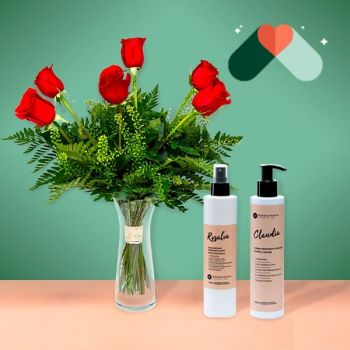 Benetuser flowers  -  6 Red Roses and Cosmetic Kit Flower Delivery