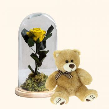 Gines Florarie online - Galben Eternal Rose + Teddy Bear Pack Buchet