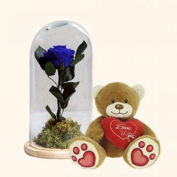 Alfas De Pi flowers  -  Eternal Blue Rose and Teddy bear heart pack  Delivery