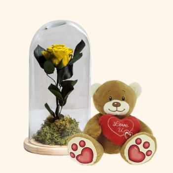 Olot flowers  -  Eternal Yellow Rose and Teddy bear heart pack Delivery