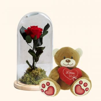 Benidorm blomster- Eternal Red Rose og Bamse hjerte pack Blomst Levering