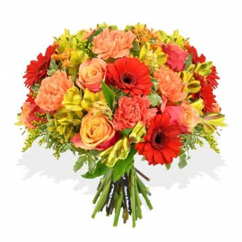 Leeds online Florist - Peach sunset Bouquet