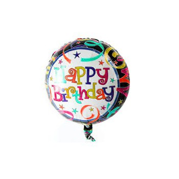 Omsk blomster- Happy Birthday Ballon  Blomst Levering