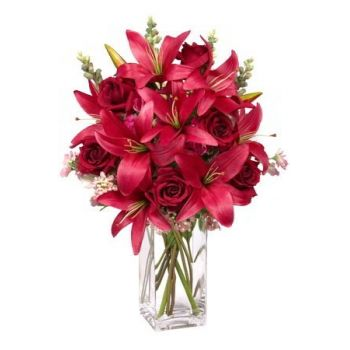 Anguilla flowers  -  Red Symphony Flower Bouquet/Arrangement