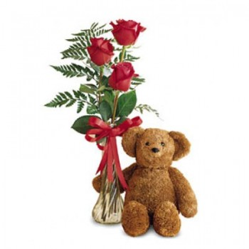Binche flowers  -  Teddy with Love Flower Delivery