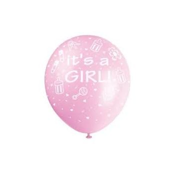 Greece flowers  -  Its a Girl balloon  Delivery