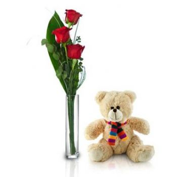 Antigua flowers  -  Teddy with Love Flower Bouquet/Arrangement