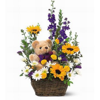 Pattaya online Florist - Bear Basket Bouquet