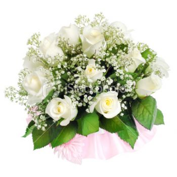 Malaga flowers  -  Soft White Romance Flower Bouquet/Arrangement