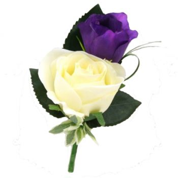 Pau online Florist - Double Rose  Buttonhole Bouquet
