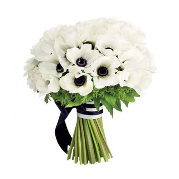 Puerto Rico flowers  -  Black and White Romance Flower Bouquet/Arrangement