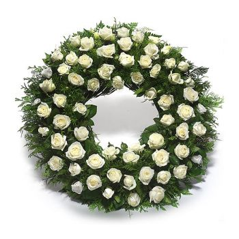 Brussels online Florist - Wreath of white roses Bouquet