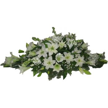 Cork flowers  -  White Casket Spray  Flower Bouquet/Arrangement