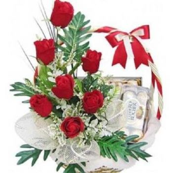 flores de Sharjah- Sweet Basket Bouquet/arranjo de flor