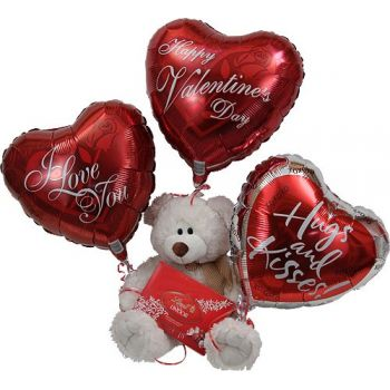 Abu Dhabi Fleuriste en ligne - Teddy Chocolates Balloon Bouquet