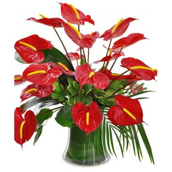 Grenada flowers  -  Red Fire Flower Bouquet/Arrangement