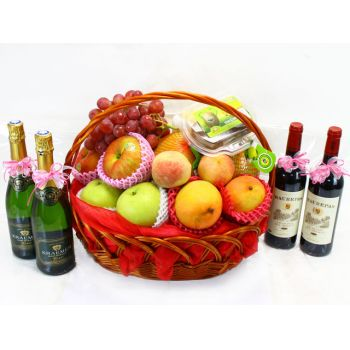 Hong Kong online Florist - Mixed Fresh Fruit and Wine Bouquet
