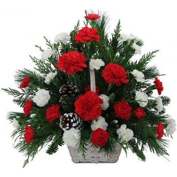 Santa Gertrudis flowers  -  Festive Red and White Basket Flower Delivery