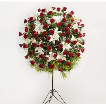 Brussels online Florist - Floral Sphere - Roses and Lilies for funeral Bouquet