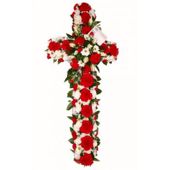 Mixco online Florist - Red and white cross funeral Bouquet