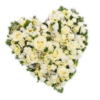 Novosibirsk flowers  -  White Funeral Heart Flower Bouquet/Arrangement