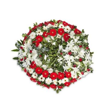 Povoação flowers  -  Red and white wreath Flower Delivery