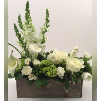 Coral Estate flowers  -  Calm and Rustic Casket Spray  Flower Bouquet/Arrangement