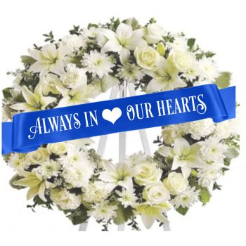 Coral Estate online Florist - Funeral Ribbon  Bouquet