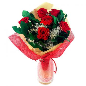 Zaragoza blomster- Bevart Eternal Rose Bouquet Blomst Levering