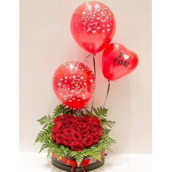 Doha flowers  -  Romance with Balloons Delivery