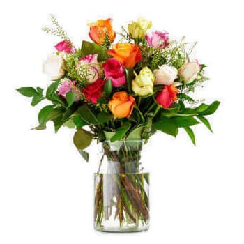 Rhoon flowers  -  Bouquet of Colourful Roses Flower Delivery
