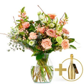 Wijk bij Duurstede flowers  -  Stylish bouquet with Prosecco  Flower Delivery