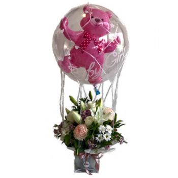Gold Coast flowers  -  Double balloon with net Delivery